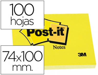 Bloc de notas adhesivas quita y pon post-it 74x100 mm con 100 hojas -657-