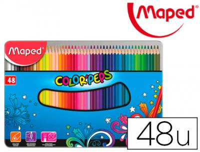 Lapices de colores maped color peps caja metalica de 48 lapices colores surtidos