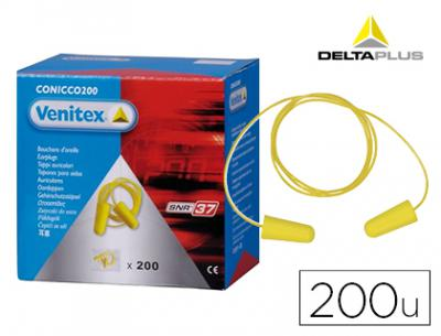 Protector auditivo delta plus conico con cordon caja 200 pares