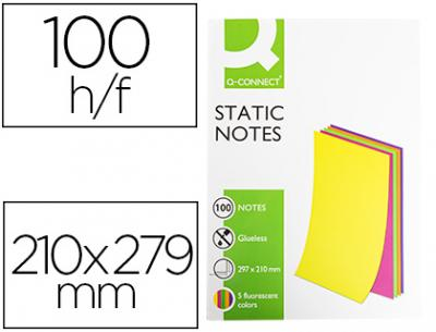 Bloc de notas magneticas quita y pon q-connect 210x297 mm 100 hojas 5 colores fluorescentes