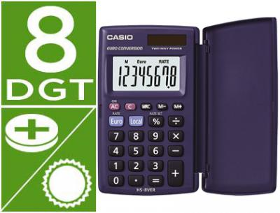 Calculadora casio hs-8ver bolsillo 8 digitos conversion moneda con tapa color azul