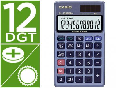 Calculadora casio sl-320ter bolsillo 12 digitos tax +/- conversion moneda tecla doble cero color azul