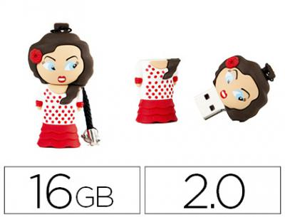 Memoria usb techonetech flash drive 16 gb 2.0 flamenca sevillana