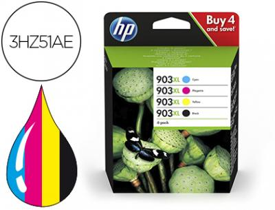 Ink-jet hp 903xl officejet 69xx / officejet pro 69xx pack 4 colores negro / amarillo / cian / magenta 825
