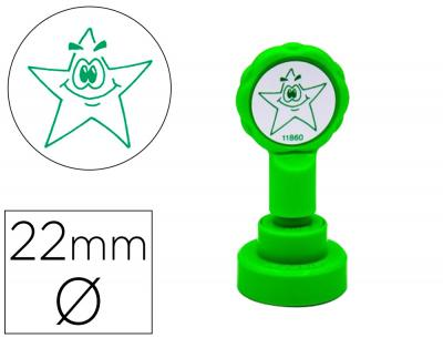 Sello artline emoticono estrella color verde 22 mm diametro