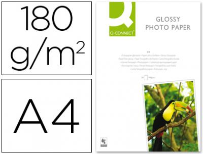 Papel q-connect foto glossy -kf01103 din a4 -digital photo -para ink-jet -bolsa de 20 hojas de 180 gr