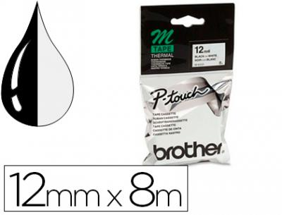 Cinta brother mk-231 blanco-negro 12mm longitud 8 mt