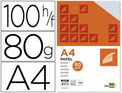 Papel liderpapel a4 80g/m2 paquete de 100 sin taladros cuadro 4 mm