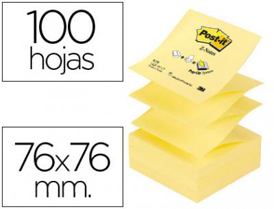 Bloc de notas adhesivas quita y pon post-it 76x76 mm z-notes