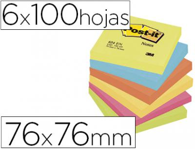 Bloc de notas adhesivas quita y pon post-it 76x76 mm neon pack de 6 blocs surtido