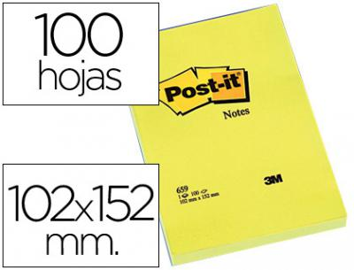Bloc de notas adhesivas quita y pon post-it 102x152 mm con 100 hojas 659