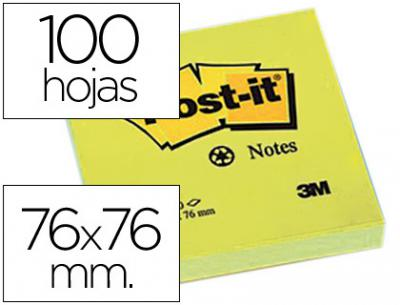 Bloc de notas adhesivas quita y pon post-it 76x76 mm papel reciclado amarillo