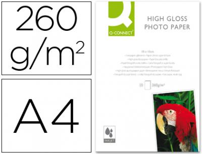 Papel q-connect foto glossy kf02163 din a4 alta calidad digital photo -para ink-jet bolsa de 20 hojas de 260 gr