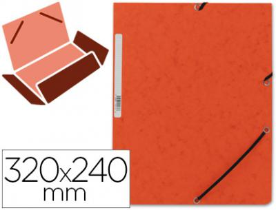 Carpeta q-connect gomas kf02170 carton simil-prespan solapas 320x243 mm naranja