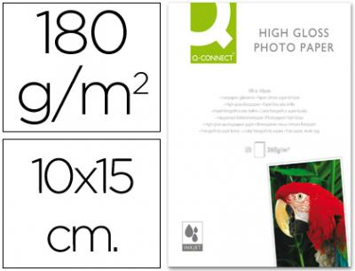 Papel q-connect foto glossy -kf01905 -10x15 -digital photo -para ink-jet -bolsa de 25 hojas de 180 gr