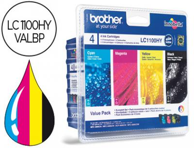 Ink-jet brother lc-1100bk /m/y/c pack 4 colores alta capacidad 900 pag bk- 750 pag m/y/c-