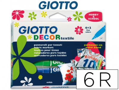 Rotulador giotto decor textile para camisetas 6 colores