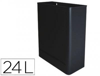 Papelera metalica de pared 24l. 460x350x150 mm negro