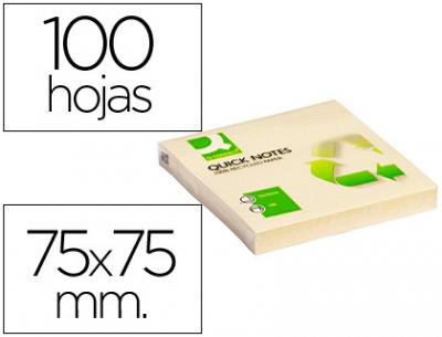 Bloc de notas adhesivas quita y pon q-connect 75x75 mm papel reciclado amarillo