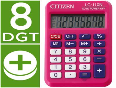 Calculadora citizen bolsillo lc-110 8 digitos rosa