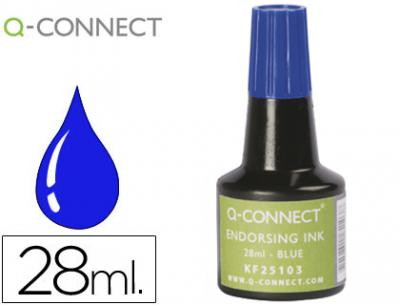 Tinta tampon q-connect azul frasco de 28 ml