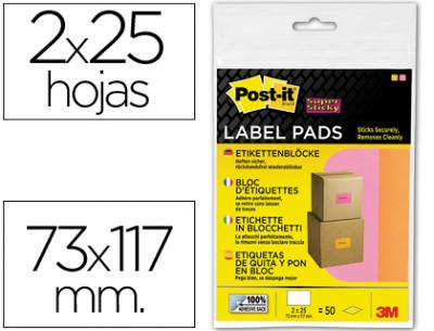 Etiqueta adhesiva post-it super sticky removible pack de 1 bloc rosa y 1 naranja 73x117 mm