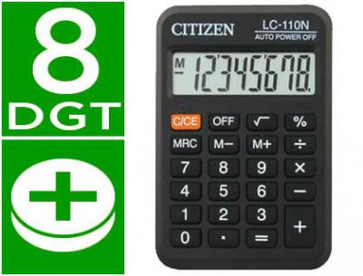 Calculadora citizen bolsillo lc-110 8 digitos negra