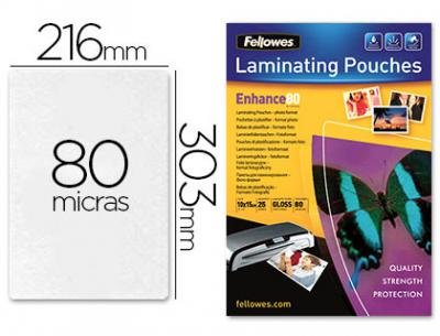 Bolsa de plastificar fellowes brillo din a4 80 micras pack 25