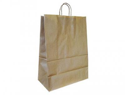Bolsa kraft q-connect natural asa retorcida 270x120x360 mm
