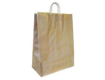 Bolsa kraft q-connect reciclado asa retorcida 240x100x310 mm