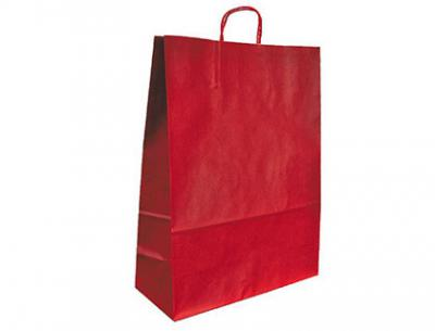 Bolsa kraft q-connect rojo asa retorcida 240x100x310 mm