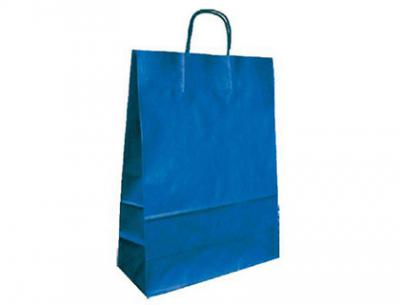Bolsa kraft q-connect azul asa retorcida 240x100x310 mm