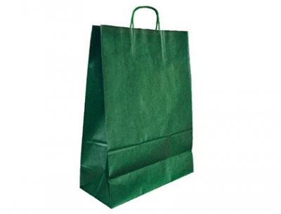 Bolsa kraft q-connect verde asa retorcida 270x120x360 mm