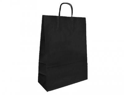 Bolsa kraft q-connect negro asa retorcida 270x120x360 mm