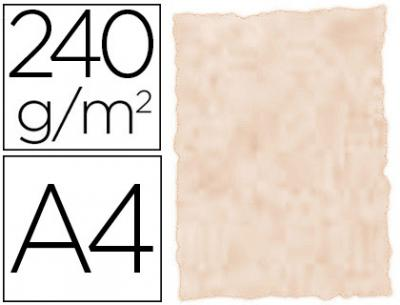 Papel color liderpapel pergamino a4 240g/m2 arena pack de 25 hojas