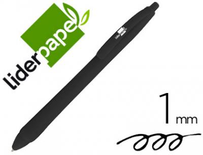 Boligrafo liderpapel gummy touch retractil 1,0 mm tinta negra