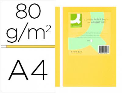 Papel color q-connect din a4 80gr amarillo paquete de 500 hojas
