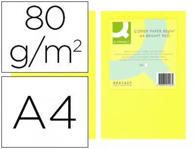 Papel color q-connect din a4 80gr amarillo neon paquete de 500 hojas