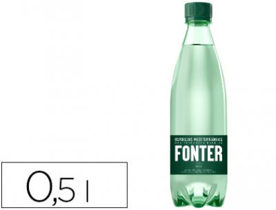 Agua mineral natural con gas fonter botella de 500ml