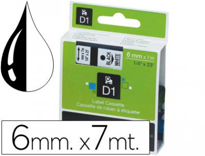 Cinta dymo negro-blanco 6mm x 7mt d1
